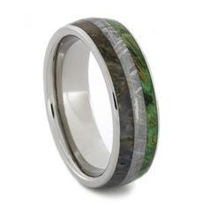 Meteorite Dinosaur Bone Green Box Elder Burl Titanium Ring