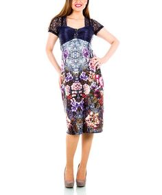 Another great find on #zulily! Blue & Navy Floral Lace Dress - Plus by La Mouette #zulilyfinds