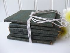 Sale #Vintage Cute Little Leather Library Green Books by @Jennifer Beaton #vmteam
