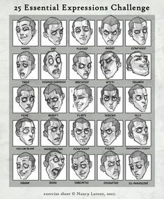 Drawing faces and 25 essential facial expressions not to be missed at the very least just see this stuff. expressions 25 Expressions Challenge by solitarium on DeviantArt Character Design Cartoon, Character Design References, Character Art, Simple Character, Animation Character, Expression Challenge, Drawing Challenge, Figure Drawing, Drawing Reference