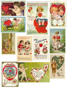 free printable vintage kids valentines - Google Search
