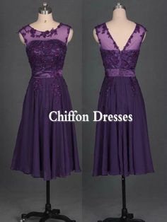 Purple Sleeveless Lace Short Chiffon Dress Short Bridesmaid Dresses Prom Dress Evening Dress Formal Dress Wedding Dresses on Etsy, $110.00