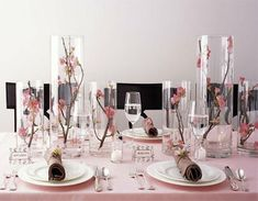 Love cherry blossoms? A great way to make simple centerpieces and stay within budget.