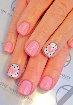 Heart+ black polka dot nail art design on accent nails and blush pink. Easy and… Heart+ black polka dot nail art design on accent nails and blush pink. Easy and Original Valentine's Day Nail Art and Designs. Nail Art Cute, Dot Nail Art, Polka Dot Nails, Polka Dots, Nail Art Kids, Valentine's Day Nail Designs, Cute Nail Art Designs, Nails Design, Valentine Nail Designs