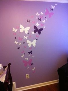 Butterfly Wall Stickers in Purple, Lilac & White vinyl decal for kids room walls- Design a beautiful butterfly bedroom with easy stick wall decal. Large and small butterfly girls room decals to instantly decorate any wall.