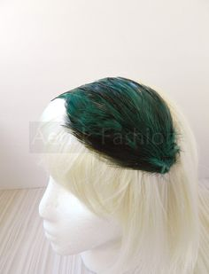 Emerald Green feather fascinator blank Base 5 by CastleMemories