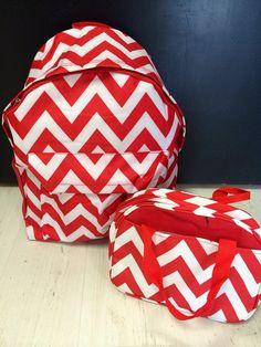 Back to School Chevron Backpack and Lunchbox by BlueSuedeStitches, $65.00