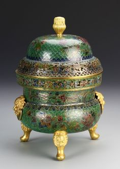 China, 19th C., Cloisonne and glass censer with cover, with varying levels of decorated and colorful glass work. Height 6 1/2 in., Width 8 in.
