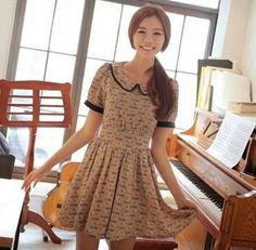 Korean Puff Sleeve Chiffon Chiffon Cartoon Car Party Evening MINI Dress Skirt | eBay
