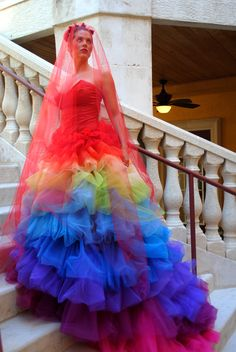 Ricky Lindsay Esperanza Haute Couture Rainbow Evening Gown Dress Spanish Formal Ball Runway Fashion Silk Exquisite. $2,300.00, via Etsy.