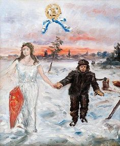 Artwork by Hugo Simberg, The Angel and the Lumberjack, Made of Oil on canvas