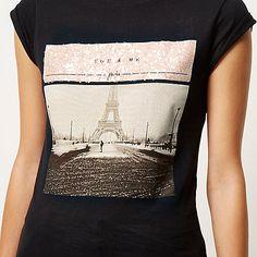Black Paris sequin print fitted t-shirt