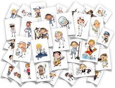 Imatges de vocabulari de diferents temes: oficis, malalties, esports, transports...