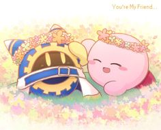 Kirby and Magolor with flower wreaths funny