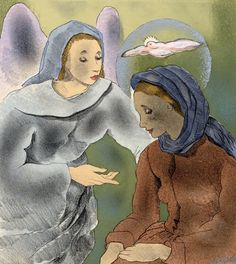 Illustration by Mariette Lydis, 1934, Les litanies de la Vierge, lithography, watercolor.