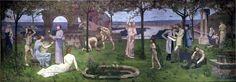Pierre Puvis de Chavannes (1824-1898): Inter artes et Naturam / between art and nature. Programmatic representation explaining the mission of the artist in showing an harmonic society. The recreation of a golden age.