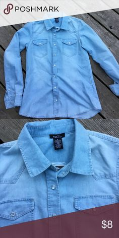 Rue 21 jean button down Rue 21 jean blue button down. New with tags. Excellent condition. Rue 21 Tops Button Down Shirts