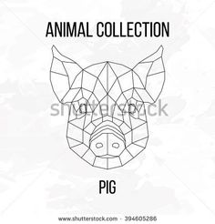 Pig swine hog sow head geometric lines silhouette isolated on white background vintage design element image