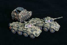 Two Pumas and a munitions Wespe for Flames of War. Painted by Panzer Schule.