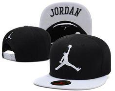 "Men's Nike Air Jordan The White ""Jumpman"" Embroidery Logo ""Jordan"" Sports Fashion Snapback Hat - Black / White"