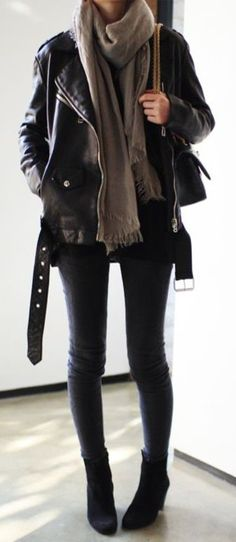 #fall #outfits / leather jacket + layers