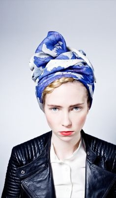 in love with turbans right now! Nen Xavier — Inked Flower Scarf