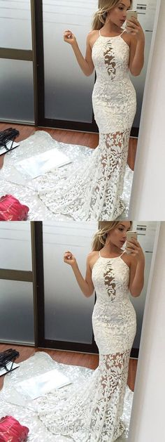 White Prom Dresses, Lace Prom Dresses, Long Prom Dresses, Trumpet/Mermaid Prom Dresses Scoop Neck, 2018 Prom Dresses For Teens