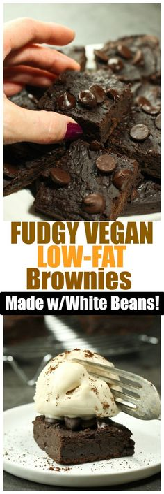 These Fudgy Vegan Gluten-Free Low-Fat Brownies are made in the food processor with no bowl required! These are the most decadent, rich and fudgy brownies without the guilt! You will truly be amazed that these are so low-fat! (all recipes cookies baking) Healthy Vegan Dessert, Coconut Dessert, Cake Vegan, Vegan Brownie, Brownie Desserts, Oreo Dessert, Vegan Dessert Recipes, Vegan Treats, Vegan Foods
