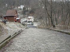 "Canton Avenue  Pittsburgh, Penn.      This small cobblestone side street can be found in Pittsburgh's Beechview neighborhood."" This short road has a 37 percent grade, which means that it ascends 37 feet in elevation for every 100 horizontal feet it travels."