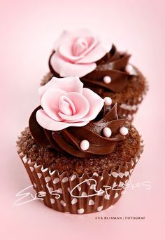 Chocolate with pink rose cupcakes Pretty Cupcakes, Beautiful Cupcakes, Yummy Cupcakes, Cupcake Cookies, Simple Cupcakes, Gourmet Cupcakes, Cupcakes Flores, Flower Cupcakes, Rose Cupcake