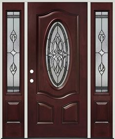 Fleur-de-lis Oval Pre-finished Mahogany Fiberglass Prehung Door Unit with Sidelites Colonial House Exteriors, House Front Door, Cheap Interior Doors, Bedroom Door Design, Prehung Doors, Fiberglass Door, Door Glass Design, Glass Design, Door Design Wood