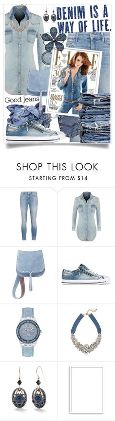 """""""All Denim, Head To Toe"""" by sinesnsingularities ❤ liked on Polyvore featuring Mother, LE3NO, Steve Madden, Diesel, GUESS, BaubleBar, Silver Forest, Bomedo, Therapy and HowToWear"""