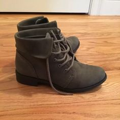 Short grey booties Never been worn because they didn't fit me. They are really cute though and will match with so many different outfits ❌ no trades Shoes Ankle Boots & Booties