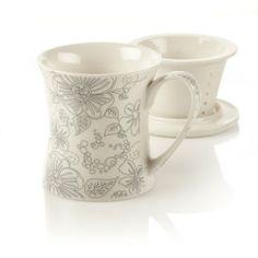 Teavana New Bone China Infuser Mug with Flower Design, Linea Poppy, 10oz Teavana,