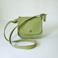 Vintage Coach Bag with Adjustable Cross Body Shoulder Strap Light Green Lime Leather. $64.00, via Etsy.