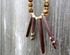 Rustic Leather Necklace with Sea Urchin Spines by Stacy Leigh