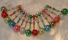 Vintage mercury glass ornaments. These are jewelry for your Christmas tree!