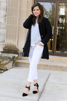 Spring layers: duster coat, pastel blue sweater and white denim