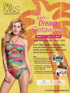 For every Php purchase at any M store will earn a raffle ticket for a chance to win a Boracay Summer Getaway! Ticket, One Piece, Swimwear, Summer, Fashion, Bathing Suits, Moda, Swimsuits