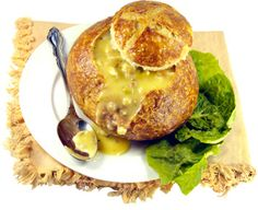 Fall and winter soups served in bread bowls? Yummy potato soup, beef stew, broccoli cheese and more