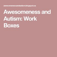 Awesomeness and Autism: Work Boxes