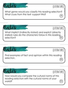 Depth and Complexity Critical Thinking Task Cards for Literature Example Of Fact, Boy In Striped Pyjamas, Fact And Opinion, Reading Material, Task Cards, Critical Thinking, Language Arts, Teaching Ideas, Literature