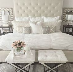 Love the clean lines and softness of this room but I would like a slightly shorter headboard