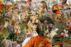 Flora and Fauna Escape the Confines of Over 1,000 Repurposed Books paper installation collage books