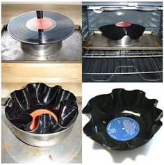 Repurpose your scratched vinyl into a candy dish, keys and phone dish, etc.