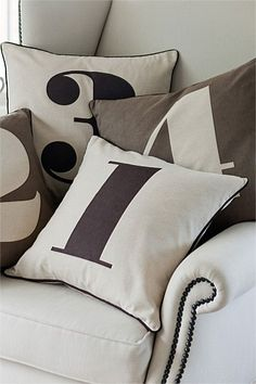 Number Cushion - just in case I forget how many I have! Stenciled Pillows, Bed Pillows, Breakfast Nook Cushions, Beds Online, Just In Case, Kids Room, Sweet Home, Clothes For Women, Number