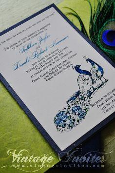 The Kathleen Vintage Peacock Wedding Invitation
