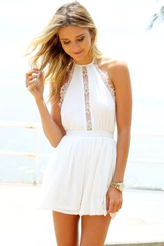 SABO SKIRT Wind Lace Playsuit - White - 58.00 *check out the sexy low BACK!*
