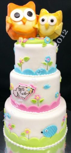 Happi Tree Owl Shower Cake  Cake by It'z My Party Cakery