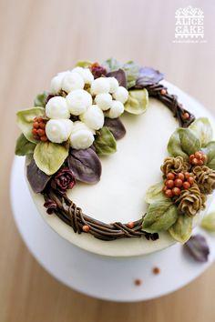 앨리스 케이크크리스마스 에디션 2015목화솜 리스 케이크 입니다. 컵케이크에 이어 케이크에도핫한 목화솜...